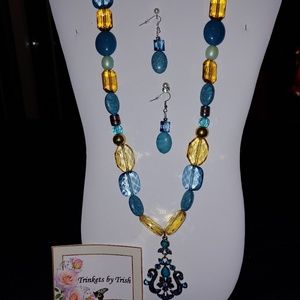 Turquoise and Gold 2 Piece Necklace Set